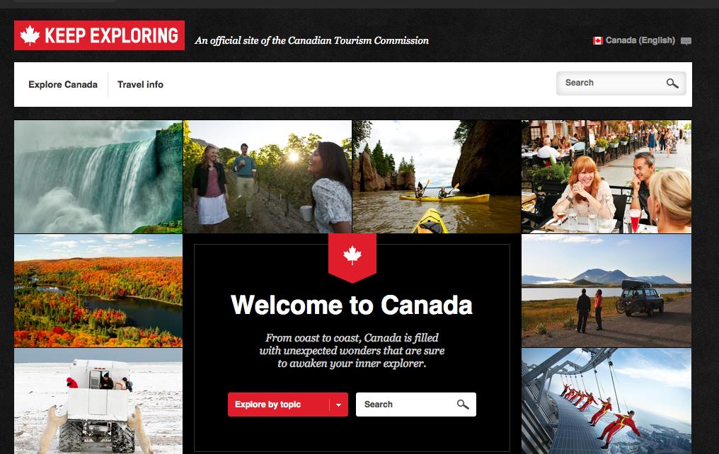 Destination Canada traveller website