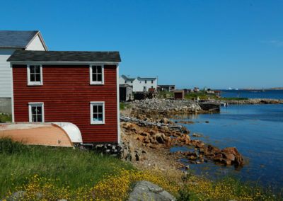 Brightly painted houses dot the shoreline of Fogo Island
