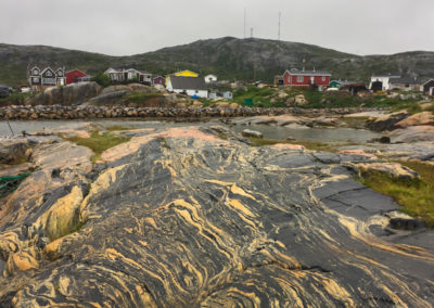 The gneiss rocks of Hopedale, an Inuit community