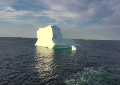 An large iceberg with smaller bergs behind it